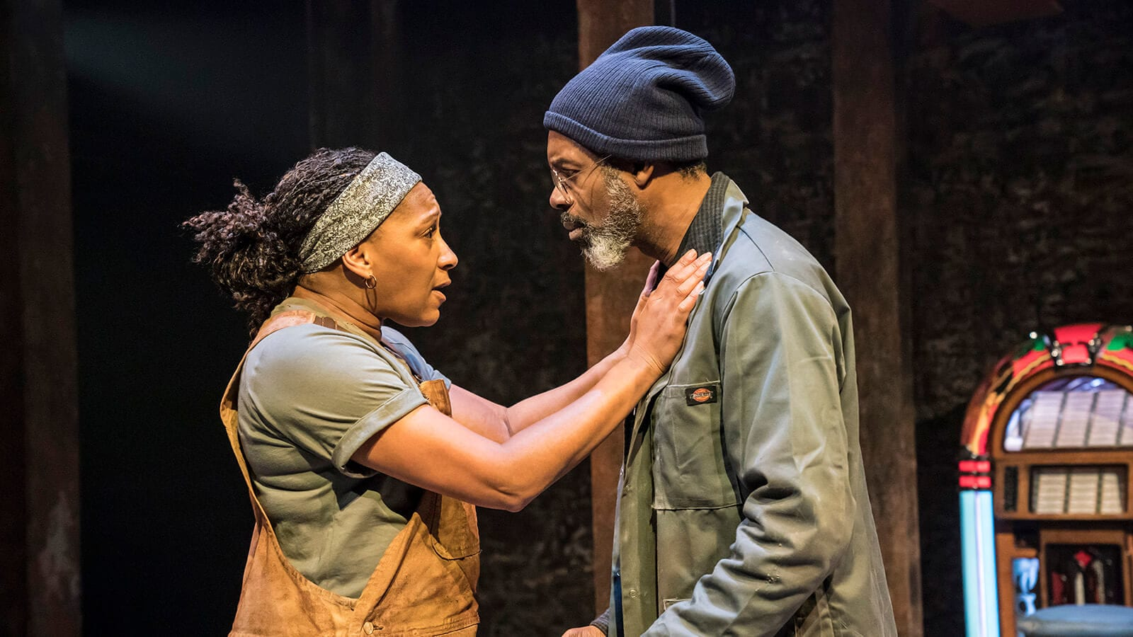Clare Perkins and Wil Johnson in Sweat at the Donmar Warehouse. Photo Johan Persson