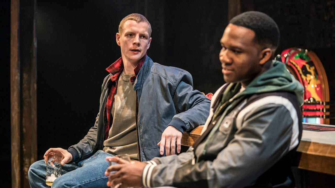 Patrick Gibson and Osy Ikhile in Sweat at the Donmar Warehouse. Photo Johan Persson